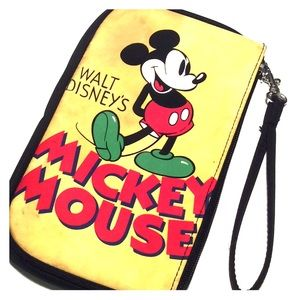Walt Disney's Mickey Mouse Yellow Black Wristlet